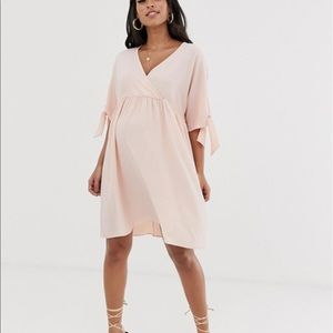 ASOS maternity pink tie sleeve dress NWT sz 4